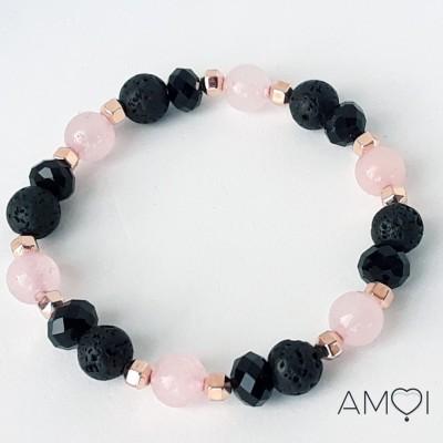 Bracelet Carla - quartz rose - Amoi Bijoux