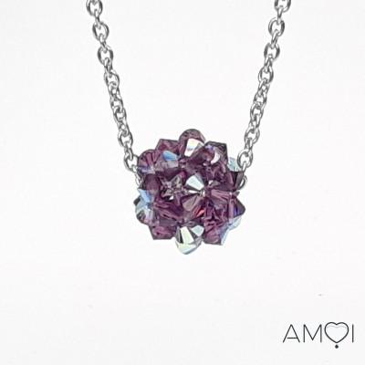 Boule Swarovski - Dodécaèdre améthyste - Amoi Bijoux