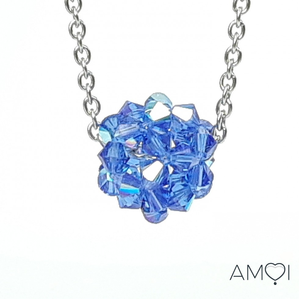 Boule Swarovski - Dodécaèdre bleu saphir - Amoi Bijoux